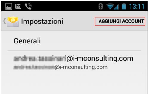 Configurazione posta elettronica per Android