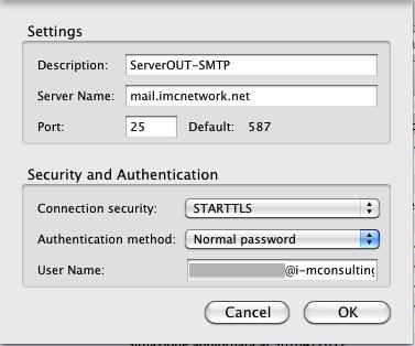Configurazione posta elettronica Standard