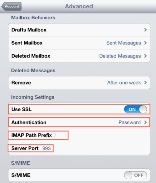 Configurazione posta elettronica iPad iPhone